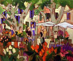 Village provencal / Claude A. Landscape Paintings, Landscapes, Canadian Artists, Umbrellas, Painters, Modern Art, Abstract, Ideas, Vase
