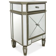 Soryn Gold-Trim Mirrored Chest ($399) ❤ liked on Polyvore featuring home, furniture, storage & shelves, dressers, gold, gold dresser, gold mirrored furniture, mirrored glass furniture, mirrored furniture and mirrored glass dresser