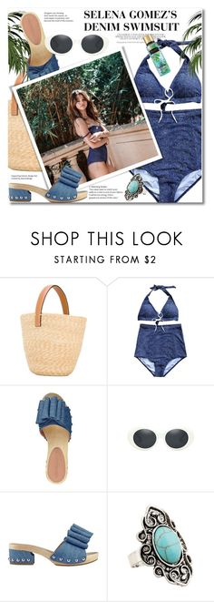 """SELENA GOMEZ'S DENIM SWIMSUIT"" by svijetlana ❤ liked on Polyvore featuring Ermanno Scervino, Sigerson Morrison, denim, selenagomez, Swimsuits and zaful"
