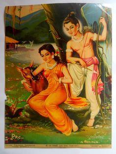 India Vintage Calendar Print Hindu God Rama & Sita with Dear in Shri Ram Indian Gods, Indian Art, Rama Image, Indian Literature, Rama Sita, Hindu Deities, Hinduism, Vintage Calendar, Indian Prints