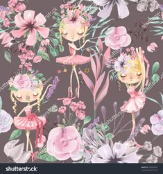 Beautiful watercolor floral seamless pattern with cute ballet girls, ballerinas. Abstract roses, peony, lilacs and branches on dark background