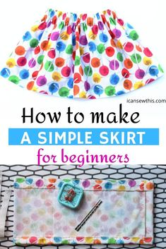 Sewing for beginners: How to make a simple skirt Learn to quickly make a simple skirt with an elastic waistband with this free sewing tutorial. Girls Skirt Patterns, Skirt Patterns Sewing, Sewing Patterns Free, Free Sewing, Clothes Patterns, Sewing Lace, Skirt Sewing, Fabric Sewing, Pattern Sewing