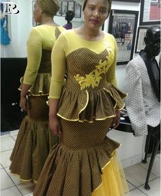Shweshwe dresses special occasions Of the basic pieces needed by the lady to meet the occasions and invitations because they appear more elegant and African Traditional Wedding Dress, Traditional Dresses, African Wedding Attire, Shweshwe Dresses, Traditional Fashion, African Dress, Street Chic, Lady, African Fashion