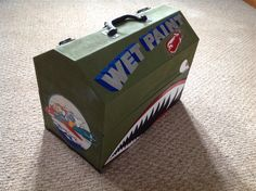 Hand painted sign painters box. Painted in the style of a World War II plane. This box was a military aviation tool box. Sign writers kit by Runtske Art.
