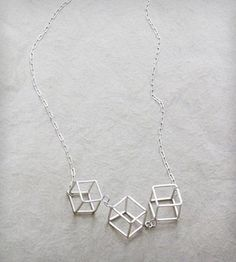 Triple Cube Long Necklace | This lightweight, wearable necklace features three handmade 3D... | Neckties