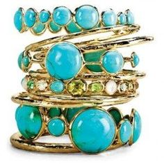 turquoise ring stack by margarita