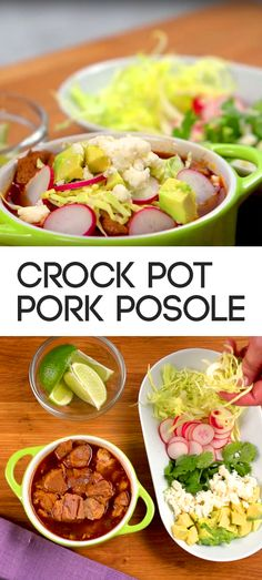 Crock Pot Pork Posole Recipe | Here's a hearty slow cooker meal that's economical and packed with flavor thanks to ancho chile powder. You'll need pork shoulder, cumin, oregano, bay leaves, onion, garlic, hominy and chicken broth to complete the dish along with your favorite garnishes. #familydinner #soups #stews #easymeals