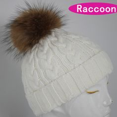 Thick Knitted beanie warm caps with real fur balls  BIG pattern fur hats for women and men in winter  fur caps  for woman beanie US $21.90