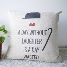 OJIA Word Print 18 X 18 Inch Cotton Linen Decorative Throw Cushion Cover / Pillow Sham, A Day without Laughter Ojia http://www.amazon.com/dp/B00G3ZSYF4/ref=cm_sw_r_pi_dp_Lomfub1PY1ASA