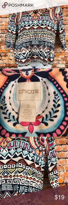 Chico's Womens Size 3 3/4 Sleeve Shirt Barely Worn. Chico's Women Size 3 Shirt. White, navy, peach, pink, red, blue pattern.  3/4 Sleeves.  Made of 95% Cotton and 5% Spandex. Chest approximately 46 inches and length approximately 26 inches.  Please visit our Store for a great selection of items. We also have a large selection of over 1,000+ PLUS! Buy with confidence with our 3K+ Feedbacks. Measurements are approximate. Your business is appreciated. Thank you, Chico's Tops Blouses