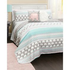 Elephant Stripe Quilt Set ($100) ❤ liked on Polyvore featuring home, bed & bath, bedding, quilts, nocolor, striped twin bedding, turquoise pillow shams, stripe twin bedding, stripe bedding and striped bedding