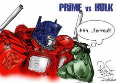 Nankin sobre papel. Colorização no Photoshop com tablet pen. Hulk vs Prime.