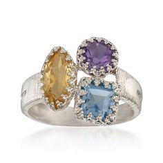 2.60 ct. t.w. Multi-Gemstone Trio Ring in Sterling Silver