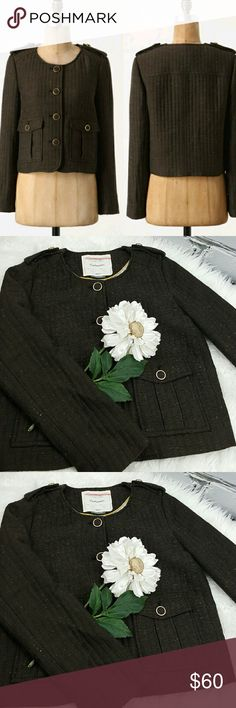 """💞SALE💞 Anthropologie Cartonnier Tweed Jacket Fabulous Anthropologie Cartonnier Brigade Tweed Military Jacket 42% Acrylic 31% Polyester 17% Rayon 10% Wool 22"""" from the top of the shoulder to the bottom 20"""" from armpit to armpit 24"""" Sleeve length Great Condition Perfect for Fall with Jeans and a pair of boots ❤ Anthropologie Jackets & Coats"""