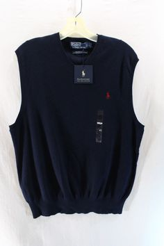 Polo Ralph Lauren Men's Sweater Vest V-Neck Pima Cotton BLue SIZE L  NWT NEW  #PoloRalphLauren #Vest