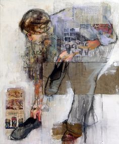 There is something quite scary about the work of Pilar Lopez Baez . Because of  the layering of newspaper and photographs within her pictures, for me, her work enables us to see all the layers of information and activity that a person is constantly exposed to and the erosion and confirmation of that person through these interactions.