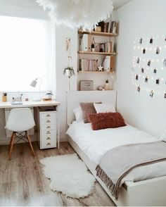 dream rooms for adults ; dream rooms for women ; dream rooms for couples ; dream rooms for adults bedrooms ; dream rooms for girls teenagers Girl Bedroom Designs, Room Ideas Bedroom, Small Room Bedroom, Bedroom Inspo, Bedroom Decor For Small Rooms, Teen Bedroom Decorations, Small Bedroom Decorating, Cozy Teen Bedroom, Bedroom Ideas For Small Rooms Cozy