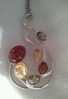 """Sterling Silver Pendent 1.5"""" Multi Color Amber Stones Filligree Style with Chain #copyrightWild #Pendant"""