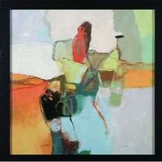 Lively colors play with form and composition. Framed in dark wood finish molding.