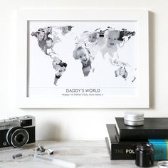 Personalised 'Daddy's World' Photograph Map. Give Daddy a gift he'll treasure forever with a personalised 'Daddy's world' photograph map, using beautiful images of his children to create his world. www.helloruth.co.uk
