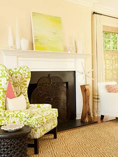 Decorate a mantel using the same color scheme as the room! More inspiration: http://www.bhg.com/decorating/fireplace/mantels/creative-mantel-ideas/#page=7