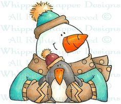 Penguin Squeeze - Snowmen Images - Snowmen - Rubber Stamps - Shop
