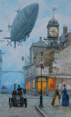 Airship over city- steampunk Arte Steampunk, Steampunk Artwork, Steampunk Airship, Dieselpunk, Fantasy World, Fantasy Art, Arte Sci Fi, Retro Futurism, Zeppelin