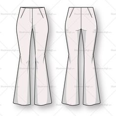 Women's Bootcut Trouser Pant Fashion Flat Template