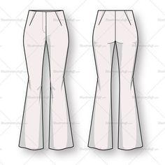 Women's Bootcut Trouser Pant Fashion Flat Template
