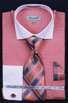 Coral Cuello dos tonos puño francés camisa de vestir en 65 dólares