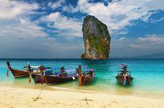 Photo by Dmitry Pichugin *** Tropical beach, Thailand - Tropical beach, traditional longtail boats, Andaman Sea, Thailand  #beautiful #summer #travel #Thailand