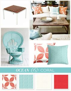Coral interior design | Ocean blue & Coral color board - Americana decor done right #loomdecor