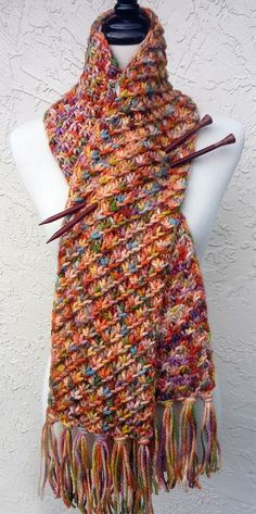 Free Knitting Pattern for Easy Star Stitch Scarf - The Holding Hands, Feeding Ducks Scarf is knit with an all over star stitch. Designed by Morgen Dämmerung. Any weight yarn. Pictured project by MyDailyFiber