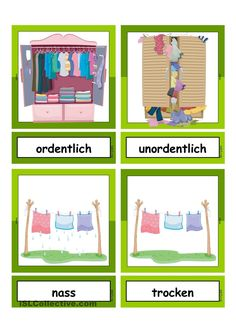 Waschtag_Adjektive _ Flashcards klein German Language Learning, Learn German, Montessori Materials, Speech Therapy, Kids Learning, Activities For Kids, Homeschool, Teaching, Worksheets