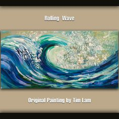 Original abstract sea art Rolling Wave large Oil by elseart, $319.00