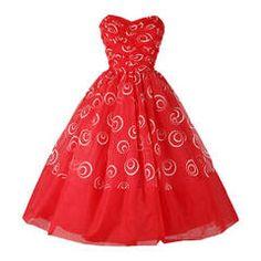 Vintage 1950's Red Chiffon Glitter Swirls Dress