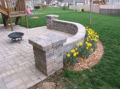 Patio Wall Design small patio ideas with a curvy stone wall design Curved Patio Wall To Create Enclosed Space