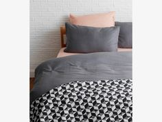 PAULISTA Black and white quilted cotton throw 150x200cm