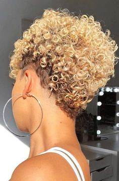 Short curly hairstyles 358810295309843172 - Short, Blonde Curly Hairstyle Source by curlygirlswag Curly Hair Styles, Short Curly Hair, Short Hair Cuts, Natural Hair Styles, Short Pixie, Thick Hair, Ponytail Styles, Pixie Cut, Natural Hair Tapered Cut