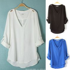 Lovely Euraerican Rivet Chiffon V-neckline Comfortable Blouse Cheap Blouses, Shirt Blouses, Blouses For Women, Blouse Styles, Blouse Designs, Bluse Outfit, Plus Size Corset, Chiffon Shirt, Chiffon Blouses