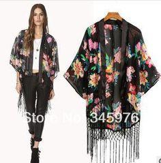 Grátis marca envio mulheres floral blusa cópia elegante borla Chiffon capa estilo europeu blusas moda mulher kimono cardigan
