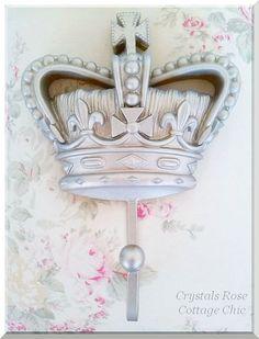 Fleur de Lis Crown Hook(s) with Cross Shabby French Chic Color & Paint Finish Choices Prince / Princess Room / Nursery Decor  Romantic Home