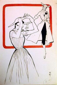 Rene Gruau, Original illustration for International Textiles, 1951
