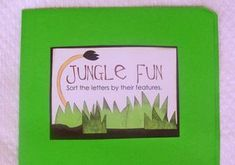 Jungle Fun File Folder Game  Here's a fun letter-sort file folder game. The kids sort lowercase letters by their features--short, tall, loops and tails. Some letters can be sorted more than one way. For example, a is short and has a loop; p has a loop and a tail. It's fun to find all the letters that can fit into 2 different categories.