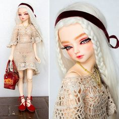 I have been thinking of exploring a more modern Berlin. What do you think? Berlin (Fairyland Minifee Woosoo) is wearing a #crochet fishtail  dress and red #espadrilles by @musume.desu #bjd #doll #dolldressup #outfitoftheday #whitehair #musumeokasan