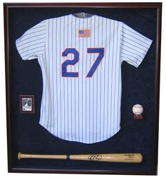 jersey one baseball bat one card and one baseball display case