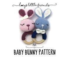 This is a PDF crochet pattern, NOT an actual bunny as shown on the pictures. In this crochet pattern I show you how to crochet your very own bunny rattle. They are a great individual present for moms to be or little boys and girls who start exploring the world. The crochet