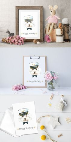 Items similar to Watercolor Happy Birthday Card Hipster Dog Printable Art, Nursery art, Greeting Card Print Birthday Card Cute Sailor Hat on Etsy Birthday Cards To Print, Happy Birthday Cards, Hipster Dog, Dog Poster, Funny Birthday Gifts, Cute Bows, Nursery Wall Art, Printable Art, How To Introduce Yourself