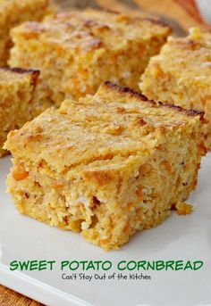 Sweet Potato Cornbread is a clean eating recipe using honey and wholesome dairy. It also uses stone ground cornmeal and gluten free flour. Sweet Potato Cornbread, Sweet Potato Recipes, Cornbread Recipes, Healthy Cornbread, Sin Gluten, Gluten Free, Recipe Using Honey, Tasty, Yummy Food