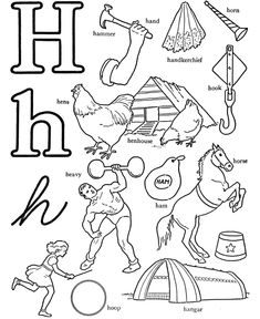 ABC Words Coloring Pages – Letter H – Hammer